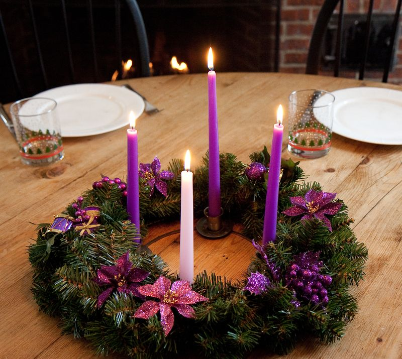 Wreathes lit with candles ashley wolff for Advent decoration ideas